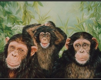 "Grandma's Girls 15"" x 10"" Chimpanzee Family Print"