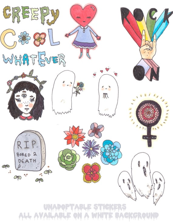 Unadoptable White & Transparent Stickers- Choose your own 4