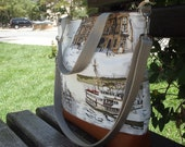 Leather Combined with Fabric Tote Bag