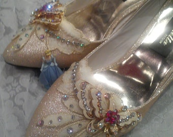 Made to order cinderella crystal gold flash bridal wedding heels,evening heels