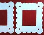 3 White Coated Chipboard Photo Frame diecuts