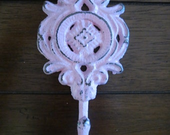 Shabby chic iron wall hook/Cast iron hook/Metal hook/Single wall hook/Pale Pink