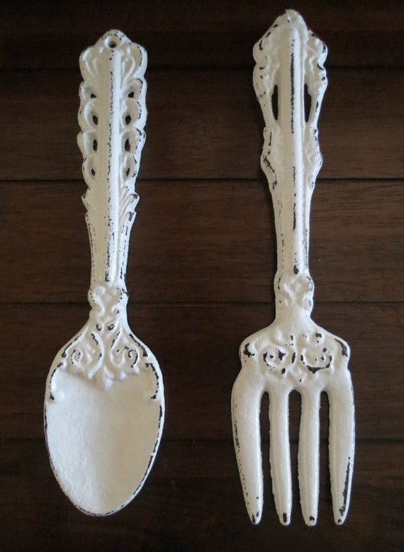 Fork And Spoon Wall Art Antique White Or Pick Color Large