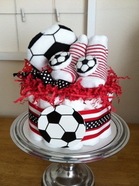 Red And White Baby Shower Cake Black, white and red soccer