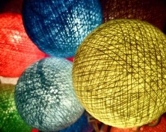 20pcs Mixed Color Cotton Balls String Lights Fairy Home Decor Wedding Party Gift