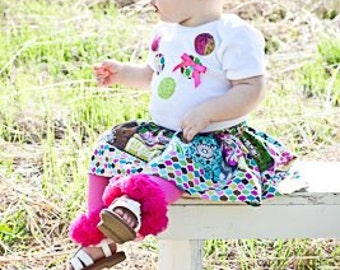 Custom Boutique Girls Twirl Skirt and Applique Necklace Onesie- Available Sizes 3-6mo, 6-12mo, 12-18mo, 2t, 3t, 4t, 5, 6, 7/8, 9/10
