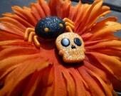 Halloween Collar Accessory - Orange Flower with Skull/Spider  - Medium