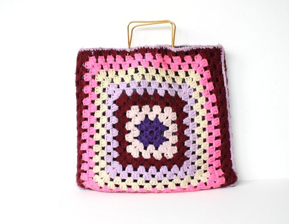 Granny Square Bag - Vintage Crochet Tote Bag - 1970s Hippie Fashion ...