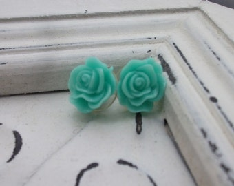Small Mint Rose Earrings