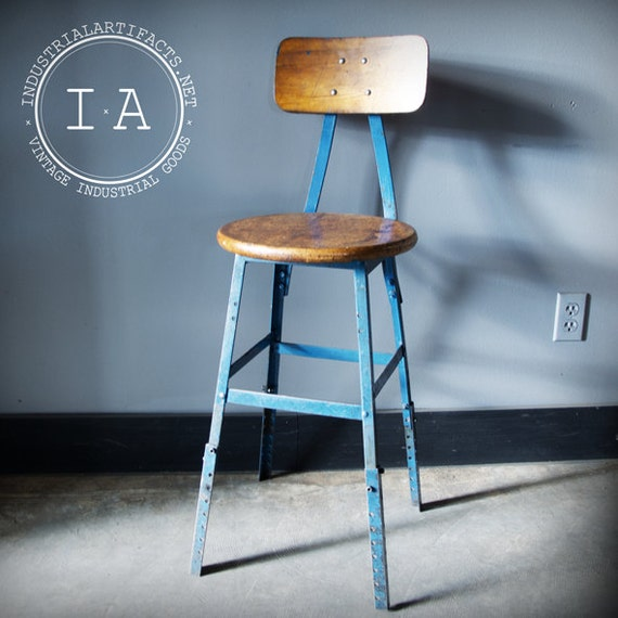 Vintage Industrial Angle Iron Machinist Stool w/ Contoured Backrest