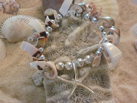 Sea Treasure - Marbled seahells with silver beads and silver starfish 2012007