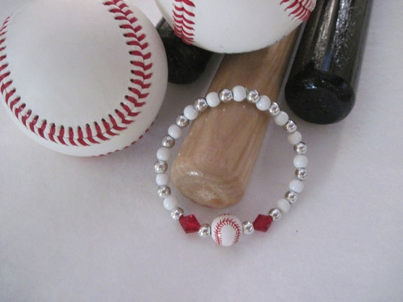 Baseball bracelet cemamic baseball red seam red crystal accents white and silver beads 201202