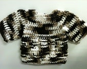 Hand-Crocheted Baby Boy Sweater - Ombre Charlie Pullover - Monochromatic Chocolate Cotton