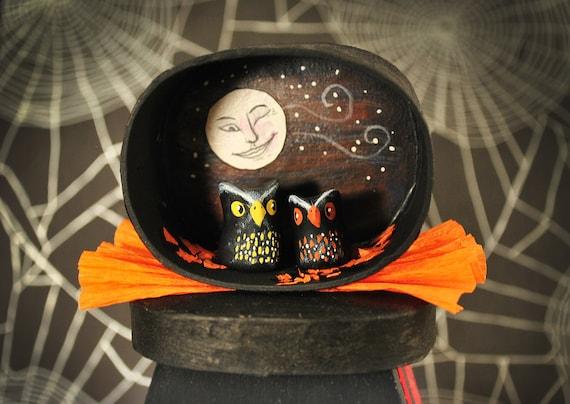 Vintage Halloween Owls and Moon Shadow Box