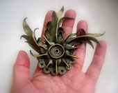 Leather Pin Brooch Leather Jewelry Flower Black Gold Hand Painting Witch Magic OOAK