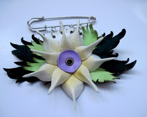 Flower Leather Pin Brooch Leather Jewelry White Green Purple Hand Painting Night Star OOAK