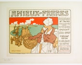"Georges Fay, Maitres de l'Affiche Poster, French 1899, Plate No 183. Poster for the sardines and canned goods company ""Amieux Freres."