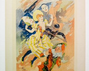 "Jules Cheret, Maitres de L'Affiche, French 1900, Panel No.201, 3rd. of 4 Panels entitled ""The Pantomime""."
