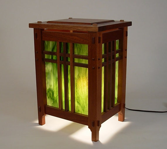 Mahogany Arts and Crafts Style Accent Table Lamp