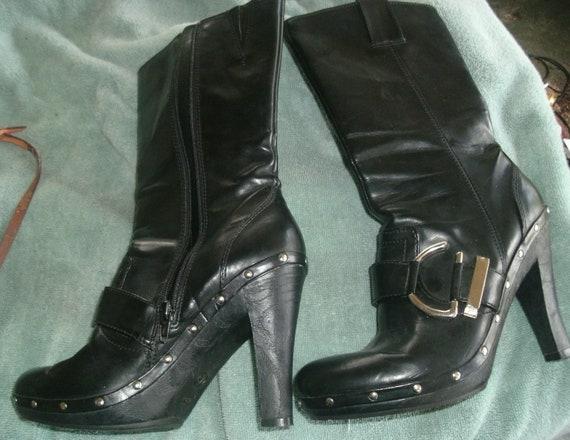 Retro Punk 80's Black Leather Boots With Buckle And Studs Size 7.5