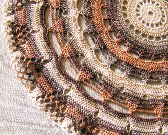 SALE 40% OFF crochet doily, lace doilie, table decoration, crocheted place mat, center piece, doily tablecloth, table, brown