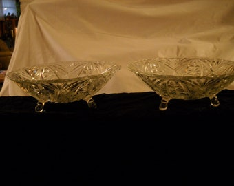 Elegant Clear Glass Three- Footed Vintage Serving Bowls(2)