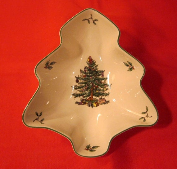 Spode Christmas Tree Candle Holder: 1938 Spode Christmas Tree Shaped Serving Dish