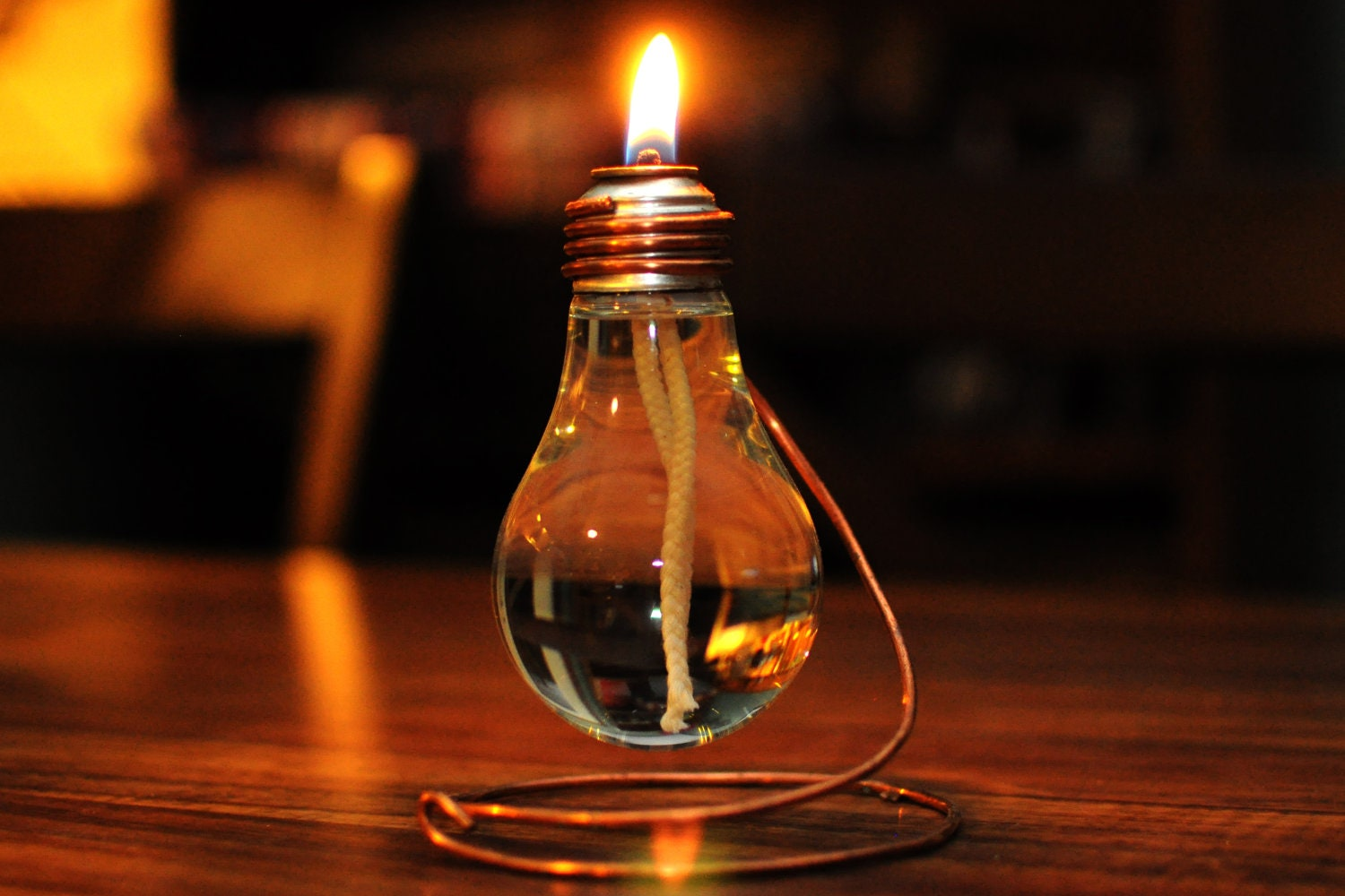 Light bulb oil lamp A light bulb