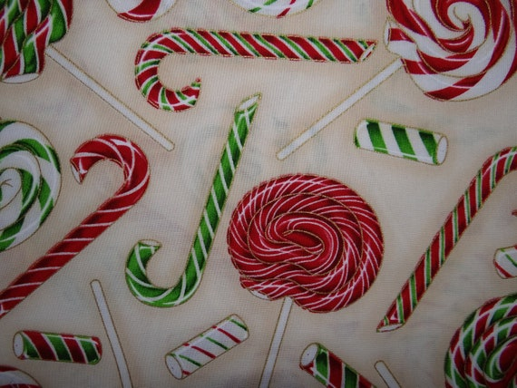 "Lollipop and Candy Cane Fabic - ""The Joys of Christmas"" for Robert Kaufman - 1/2 Yard"