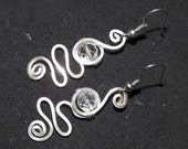 The Octopus Lady Earrings - Handmade Wire Wrapped All Sterling Silver Faceted Clear Quartz Swirl Drop Dangle - Light-Catching & Lightweight