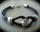 "Black Leather ""Strenght"" Knot Bracelet"