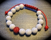 """Japan"""" White Jade with Red Crystal Pave Ball"""
