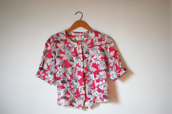 80s vintage Pierre Balmain blouse / graphic floral top