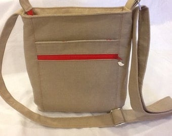 Two Zip Hipster Bag - Linen