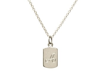 Single initial, mini dog tag necklace, initial necklace, monogram jewelry, monogram necklace, personalized necklace