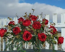 Red Roses Cemetery Flowers Funeral Sympathy Grave Saddle