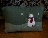 Recycled Upcycled Holiday Christmas Sweater Pillow with Snowman