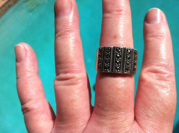 Vintage Sterling Silver and Marcasite Wide Band ring Size 9