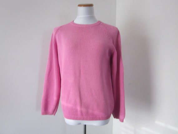 VINTAGE HOT PINK SWEATER, BUBBLEGUM PINK COTTON SWEATER, WOMENS ...