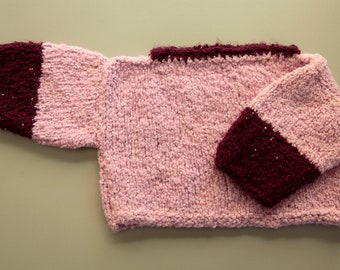 Hand Knit Baby Pullover Sweater 6 - 9 mos