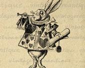 Printable Herald White Rabbit Graphic Download Alice in Wonderland Image Illustration Digital Vintage Clip Art HQ 300dpi No.1324