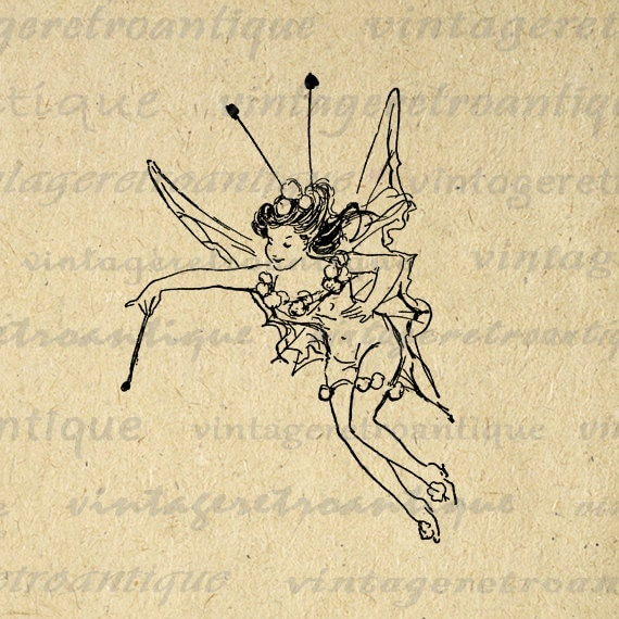 Antique Fairy Printable Graphic Download Illustration Digital Image Vintage  Clip Art for Transfers Printing etc HQ 300dpi No.1748