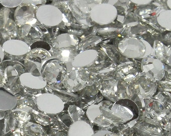 1000 3mm Clear Flatback Resin Rhinestones ss12 High Quality 14 Facets DIY Deco Bling Nail Art Silver Back