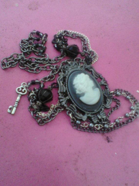 Cameo pendant necklace, gunmetal black and silver chains, small key charm, unique, dark