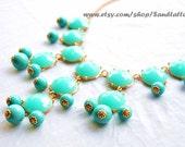 Aqua, Turquoise, Bubble Necklace, Bib necklace, Turquoise Bubble Statement Necklace - Gold Tone Chain-Similar to Jcrew Style
