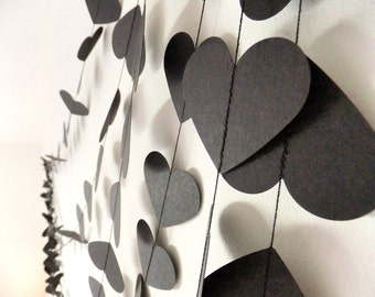 Paper Garland Rock & Roll Black Hearts - 40ft Length