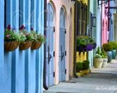 Rainbow Row Blue House Charleston, South Carolina Street (12 x 16)