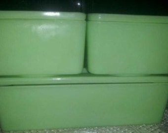 3 Vintage Jeanette Jadeite Refrigerator Dishes- Full set