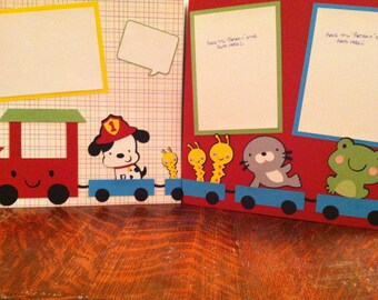 Choo Choo Train for Boys Pre Made 12 x 12 Double Page Layout