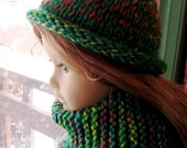 American Girl Hand Knit Roll Brim Hat and Scarf, Bright Green Variegated